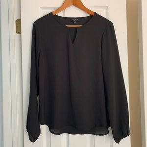 Black semi sheer flowy top size L